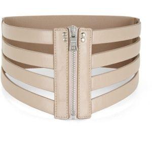 BCBG MAXAZRIA beige cage zip waist belt